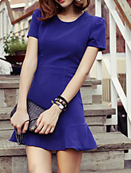 De las mujeres Vaina Vestido Simple Un Color Mini Escote Redondo Algodón