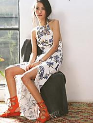 De las mujeres Recto Vestido Sexy / Boho Floral Maxi Halter Algodón