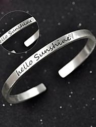 Bracelet Manchette / Personnalisé / Bracelet Rond Argenté / Argent pur Sans pierre Homme / Unisexe / Femme / Amoureux