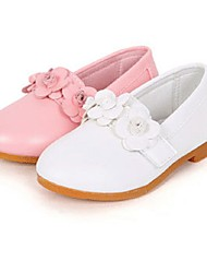 Girl's Spring / Summer / Fall / Winter Jelly / Moccasin PU Dress / Casual Flat Heel Bowknot / Flower Pink / White