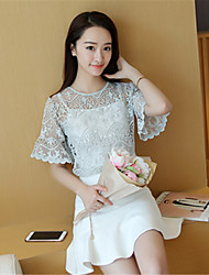 Tee-shirt Aux femmes,Couleur Pleine Sortie simple Manches Courtes Col Arrondi Rose / Vert Polyester Translucide