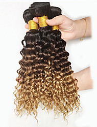 El pelo natural del color teje la onda profunda de la textura peruana 18 meses 3 pedazos del pelo teje