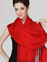 Women Cute Pure Color High-end Red Silk Scarves Chiffon Shawl Beach Towel