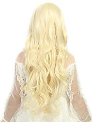 mulheres de 24 polegadas de onda longa e profunda encaracolados bege peruca de cabelo sintético com rede de cabelo gratuito