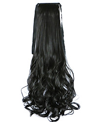 Black Water Wave Long Curly Hair Wig Style Pony Tail Bandage Ponytails