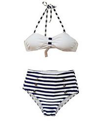 Bikinis Aux femmes Taille Haute / Rétro Licou Nylon / Spandex