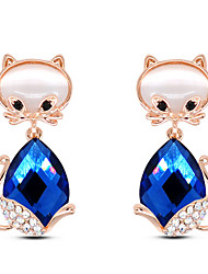 Stud Earrings Gemstone Rhinestone Glass Alloy Fashion Animal Shape White Purple Blue Jewelry Party Daily Casual 1 pair