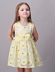 Girl's Print Dress,Rayon Summer / Fall / Spring Yellow