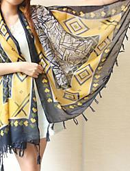 Ms Bohemian Geometric Striped Scarf Fringed Yellow Printing Shawl