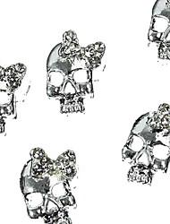 10pcs punk argent crâne avec strass arc 3d nail art de la décoration cravate