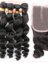Slove Hair Peruvian Virgin Human Hair Extension Loose Wave with Closure 4 pcs Bundles with Lace Closure Loose Wave
