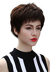 Simple Stylish Natural Short Straight Remy Human Hair Hand Tied Top Woman Wigs