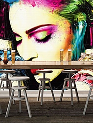 Shinny Leather Effect Large Mural Wallpaper Colourful Modern Girl Art Wall Decor Wall Paper