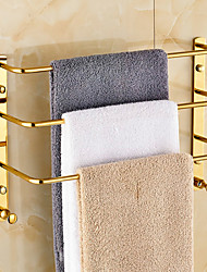 Gold-plated finishing Brass Material 3 Bars Towel Rack