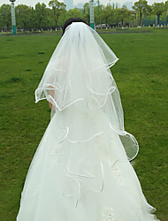 Wedding Veil Two-tier Fingertip Veils Ribbon Edge Tulle White