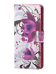 Purple Flowers Magnetic PU Leather wallet Flip Stand Case cover for Asus Zenfone Max ZC550KL