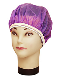 Pure Color Waterproof Shampoo Ladies Fashion  Satin Shower Cap Bath Hair