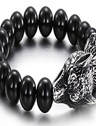 Men's Beads Bracelet Stainless Steel Round Black Jewelry 1pc