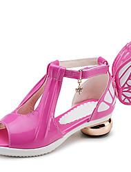 Girls' Shoes Wedding / Dress / Casual Heels / Peep Toe Leatherette Sandals Black / Pink