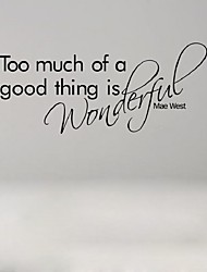 English Proverbs Too Much Of A Good Thing Bedroom Decorative Stickers Waterproof Wall Stickers Bedroom Decal