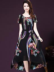 Women's Boho / Street chic Print Plus Size / Swing Dress,Round Neck Maxi Polyester