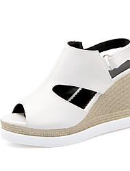 Women's Summer Platform PU Office & Career Casual Wedge Heel Platform Buckle Black White Beige