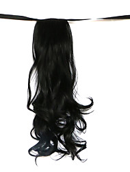 Wig Black 50CM High-Temperature Wire Strap Style Long Hair Ponytail Colour 1