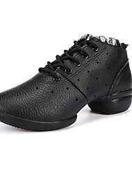 Non Customizable Women's Dance Shoes Leather Leather Dance Sneakers Sneakers Chunky Heel Practice / Performance Black / White