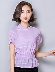 Damen Solide T-shirt - Polyester Kurzarm Ständer