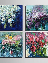 Mini Size E-HOME Oil painting Modern Flowers In Clusters Pure Hand Draw Frameless Decorative Painting