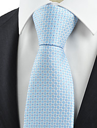 KissTies Men's Necktie Light Blue Check Wedding/Business/Work/Formal/Casual Tie With Gift Box