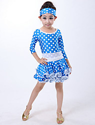 Latin Dance Dresses Children's Performance Milk Fiber Pleated / Polka Dots 2 Pieces Blue / Fuchsia