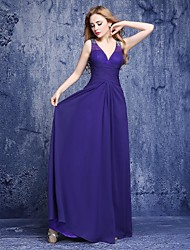 Floor-length Chiffon Bridesmaid Dress - A-line V-neck with Beading