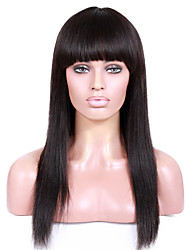 8-12 inch Braizlian virgin remy human hair glueless /lace front yaki straight wigs with full bang for African Americans