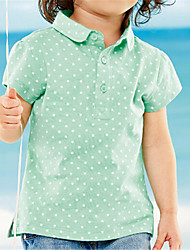 Girl's Green Tee,Polka Dot Cotton Summer