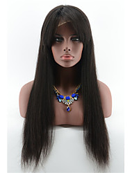 Glueless Full Lace Wigs For Black Woman 7A Brazilian Human Hair Wigs 130 Density Silky Straight Lace Wigs With Bangs