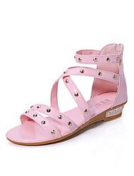 Zapatos de mujer-Tacón Bajo-Punta Abierta-Sandalias-Exterior / Vestido / Casual-PU-Azul / Rosa / Beige