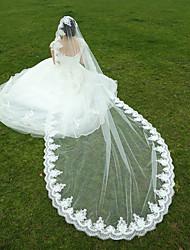 Hochzeitsschleier Einschichtig Fingerspitzenlange Schleier / Kathedralen Schleier Spitzen-Saum Tüll Weiß