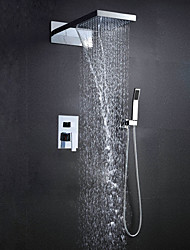 Wall Mounted 304 Stainless Steel Chrome With Rainfall And Waterfall Thermostatic Top Spray Shower Sets