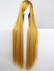 Europe and the United States the new color wig 100 cm high temperature yellow silk long straight hair wigs