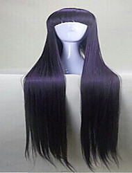 Capless Purple  Cosplay Wig with Full Bang 120cm  Long  Synthetic Hair  Wigs Girl's Cartoon Wigs Suit for  Party