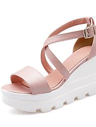 Women's Shoes Fleece Wedge Heel Wedges / Comfort / Open Toe Sandals Office & Career / Dress Blue / Pink / White