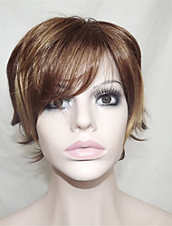 Europe And The United States Sell Lots Of Golden Brown Dyed Polyester Middle-Aged And Old Become Warped Wig 10 Inch