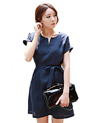 Women's Simple / Street chic Solid Lace Up Temperament Sheath Dress,Round Neck Above Knee