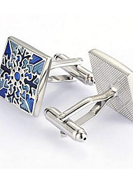 Men's Fashion Blue Flower Silver Alloy French Shirt Cufflinks (1-Pair)
