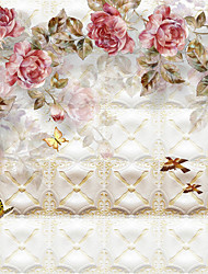 JAMMORY Floral Wallpaper Luxury Wall Covering,Canvas Luxury Rose Flower