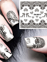 Fashion Printing Pattern Water Transfer Printing Black Lace Nail Stickers