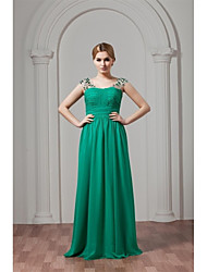 Floor-length Chiffon Bridesmaid Dress - A-line Straps with Crystal Detailing / Pleats