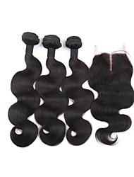 cabelo virgem brasileiro com fecho 3Bundles com fecho de onda do corpo brasileiro com fechamento