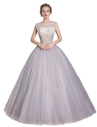 Formal Evening Dress - Sparkle & Shine Ball Gown Scoop Floor-length Satin Tulle Stretch Satin with Beading Sequins